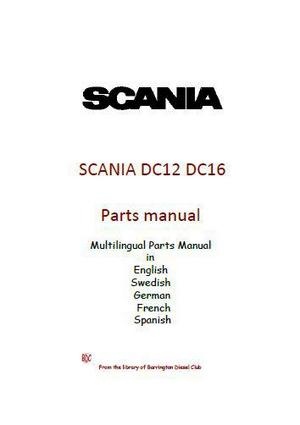 image p1 Scania DC12 and DC16 multilingual parts manual p1